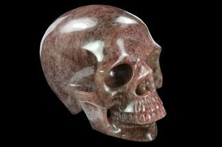 "Buy 5.05"" Realistic, Carved Strawberry Quartz Crystal Skull - Madagascar - #127570"