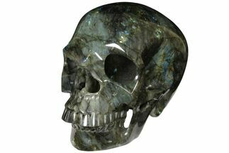 "Buy 8.9"" Realistic, Hollowed-Out Polished Labradorite Skull - Madagascar - #127582"