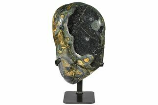 "Buy 9.9"" Sparkling Green/Silver Quartz Geode on Metal Stand - Uruguay - #128083"