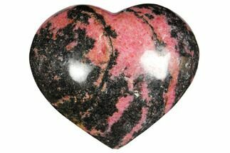 "3.9"" Polished Rhodonite Heart - Madagascar For Sale, #126770"