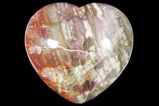 "4.8"" Polished, Triassic Petrified Wood Heart - Madagascar For Sale, #133622"
