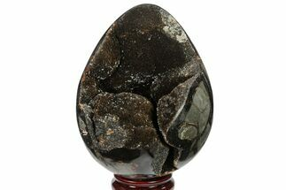 "5.6"" Septarian ""Dragon Egg"" Geode - Black Crystals For Sale, #134642"
