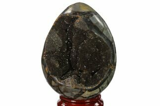 "Buy 6.1"" Septarian ""Dragon Egg"" Geode - Black Crystals - #137944"