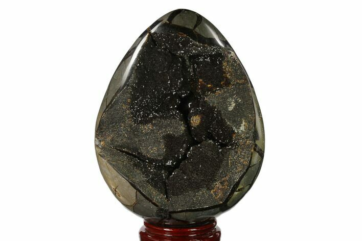 "7.9"" Septarian ""Dragon Egg"" Geode - Black Crystals"