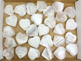 "Buy Wholesale Lot: 2.25 - 2.6"" Polished Selenite Hearts - 29 Pieces - #138205"