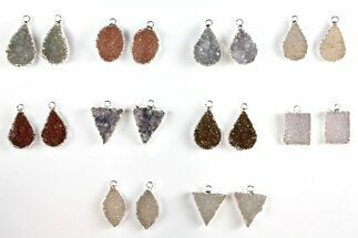 Buy Lot: Druzy Quartz Pendants/Earrings - 10 Pairs - #140830
