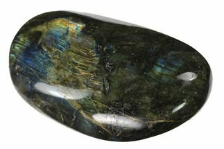 "3.8"" Flashy, Polished Labradorite Palm Stone - Madagascar For Sale, #142847"