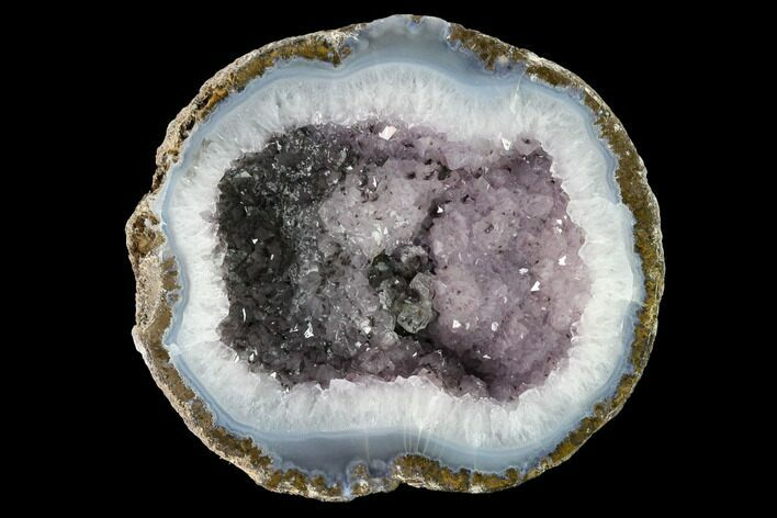 "5.8"" Las Choyas ""Coconut"" Geode Half with Amethyst & Agate - Mexico"