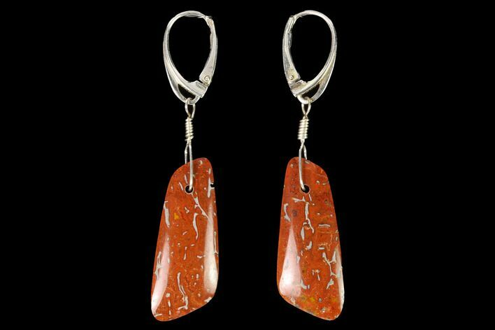 Rich, Orange-Red Agatized Dinosaur Bone (Gembone) Earrings