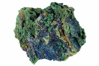 "5.1"" Sparkling Azurite Crystals With Malachite - Laos For Sale, #146657"
