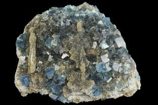 "4.2"" Blue Cubic Fluorite on Smoky Quartz - China For Sale, #147107"