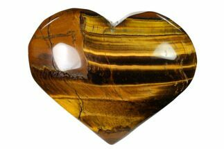 "3.1"" Polished Tiger's Eye Heart For Sale, #148766"