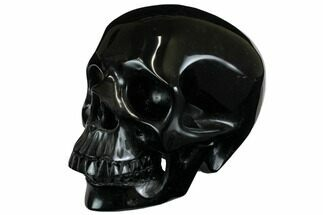 "4.9"" Realistic, Polished Black Obsidian Skull For Sale, #150854"
