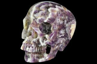 "5.1"" Realistic, Carved Chevron Amethyst Skull  For Sale, #150866"