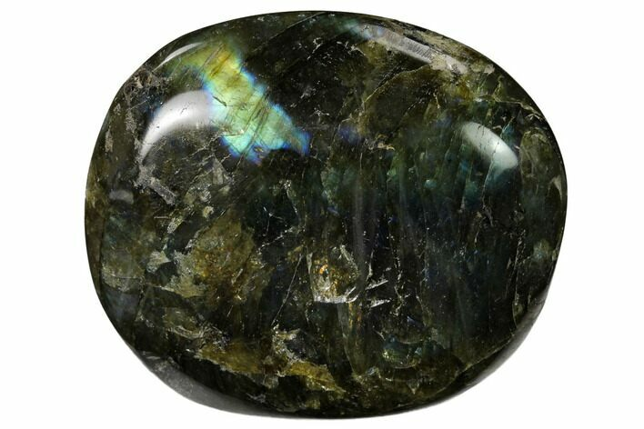 "2.8"" Flashy, Polished Labradorite Palm Stone - Madagascar"