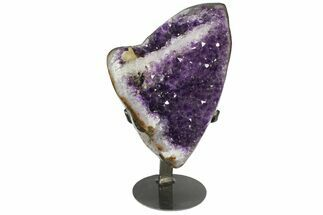 "10.7"" Amethyst Geode Section With Metal Stand - Uruguay For Sale, #153599"