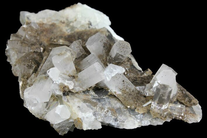 "3.3"" Columnar Calcite Crystal Cluster on Fluorite - China"