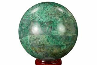 "2.5"" Polished Chrysocolla and Malachite Sphere - Bagdad Mine, Arizona For Sale, #167663"