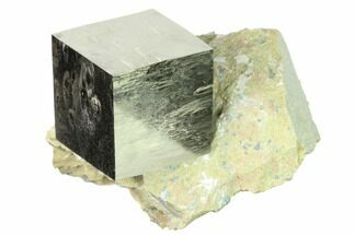 "Large, 1.58"" Natural Pyrite Cube In Rock - Navajun, Spain For Sale, #168512"