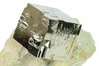".93"" Natural Pyrite Cube In Rock - Navajun, Spain For Sale, #168503"
