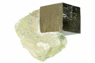 "1.1"" Natural Pyrite Cube In Rock - Navajun, Spain For Sale, #168530"