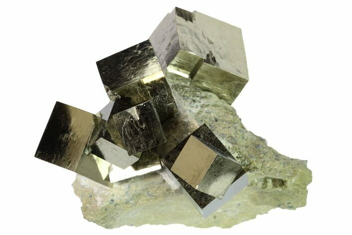 Natural Pyrite Cube Cluster in Rock - Navajun, Spain