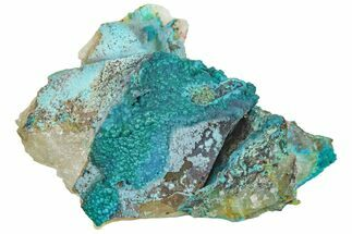 "Buy 2.4"" Chrysocolla on Quartz Crystal Cluster - Tentadora Mine, Peru - #169255"