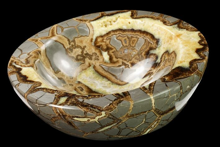 "7.6"" Polished Septarian Bowl With Ammonite Fossil - Utah"