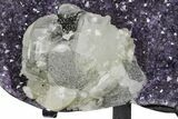 "6.4"" Amethyst Geode Section With Calcite On Metal Stand - Uruguay - #171780-4"
