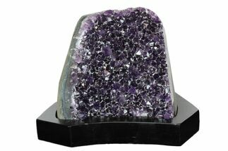 "Buy 6.1"" Dark Purple Amethyst Cluster With Wood Base - Uruguay - #171895"