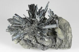 Metallic Stibnite Crystal Spray On Matrix - Xikuangshan Mine, China For Sale, #175928