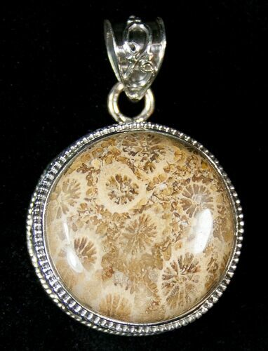 20 Million Year Old Fossil Coral Pendant - Sterling Silver